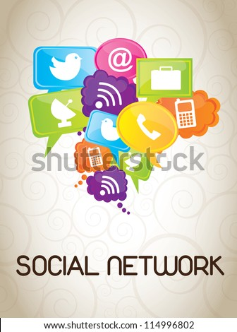 Icons of social network over white background - stock vector