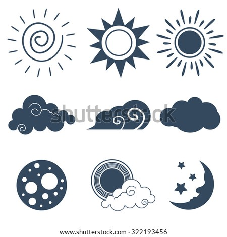 Icons of the sun, clouds and moon in flat style. Vector illustration. Children style cartoon. EPS 8 - stock vector