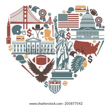 Icons of the USA in the form of heart - stock vector