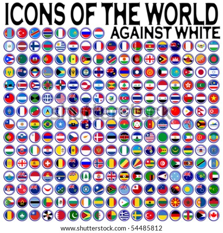 icons of the world against white background, abstract vector art illustration - stock vector