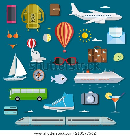 Icons of traveling, planning vacation, tourism and journey objects. Travel infographics with data icons and elements. - stock vector