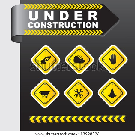 Icons of under construction over chrome background - stock vector