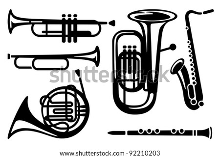 Icons of wind musical instruments - stock vector