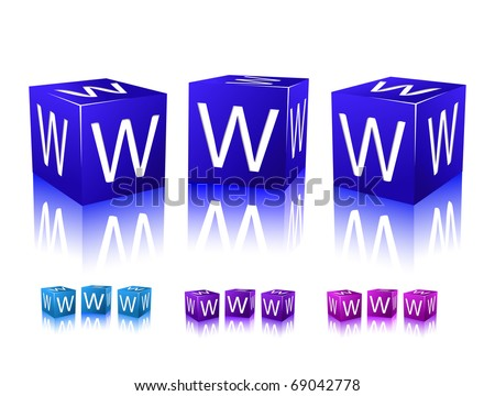 icons of www letters on blue and violet blocks. vector illustration isolated on white background. - stock vector