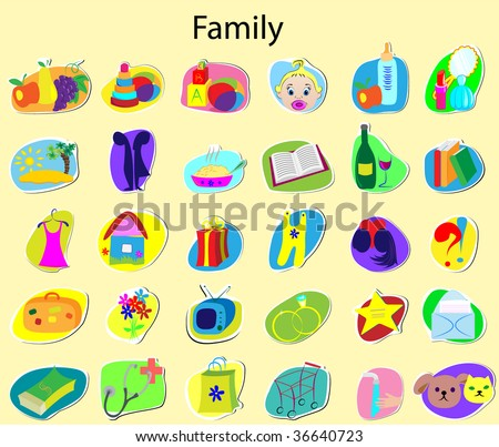 Icons on a family theme - stock vector