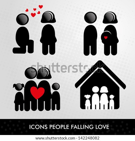 icons people over gray background vector illustration - stock vector