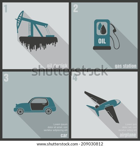 icons production and use of oil - stock vector