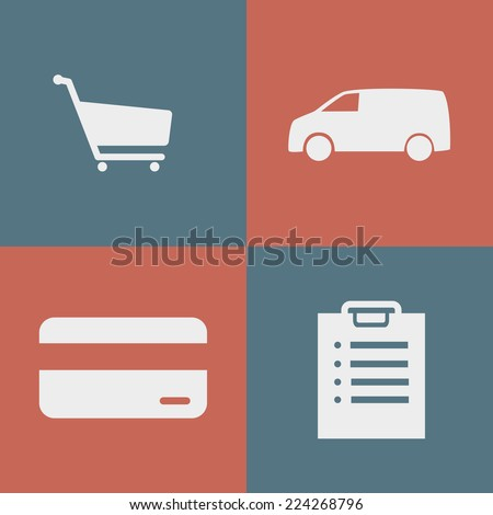Icons purchase process for online store - stock vector