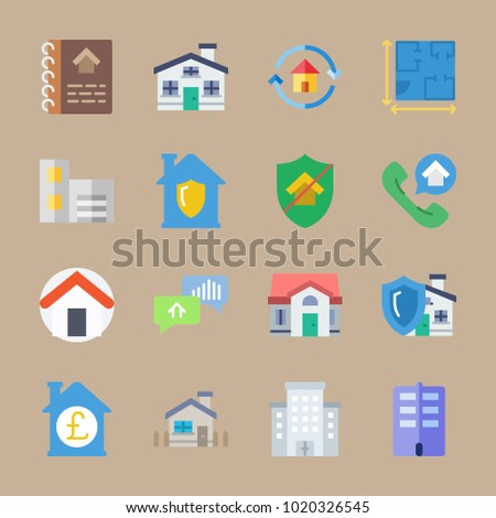 Icons real estate building blueprint buildings stock vector icons real estate with building blueprint buildings house catalogue and plan malvernweather Images