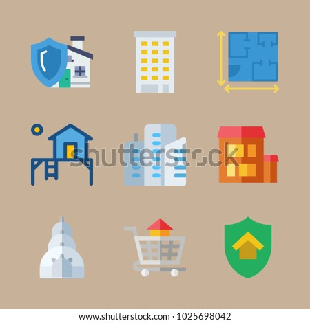 Icons real estate terrace house blueprint stock photo photo vector icons real estate with terrace house blueprint carrier and building malvernweather Images