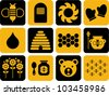 icons related to bees and honey - stock vector