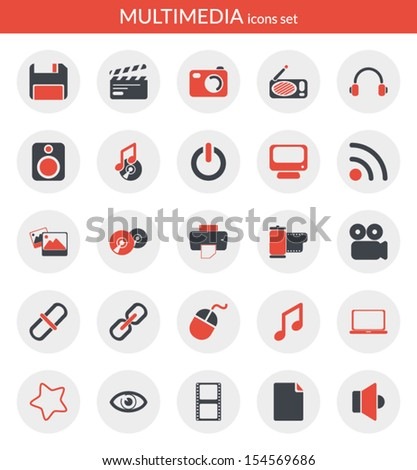 Icons set about multimedia. Flat icons inside circles.