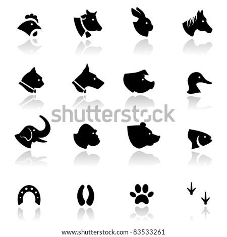 Icons set Animals - stock vector