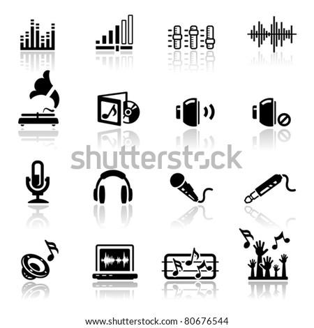 Icons set Audio - stock vector