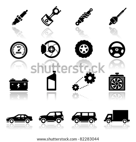 Icons set Auto parts - stock vector