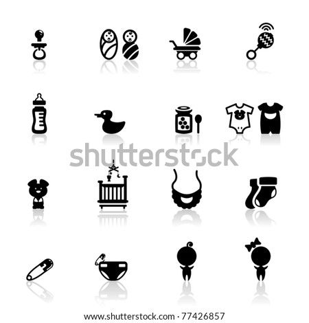Icons set Babies - stock vector