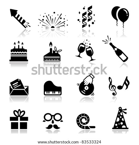 Icons set Birthday and Celebration - stock vector