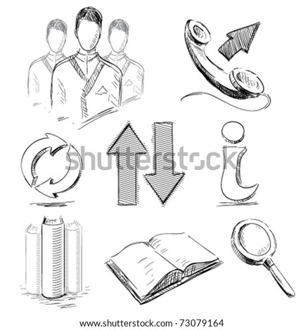 Icons set business communications web arrows search book info phone group in sketch style - stock vector