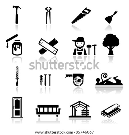 Icons set carpentry - stock vector
