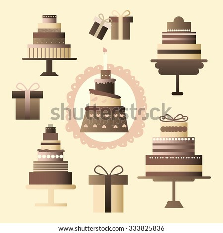 Icons set consists of a multi-tiered cakes and chocolate boxes in pastel colors - gifts to different celebrations