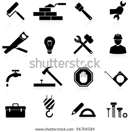 Icons set construction and repair - stock vector