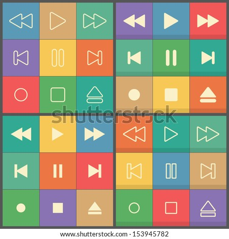 Icons set control buttons for flat UI media player - stock vector