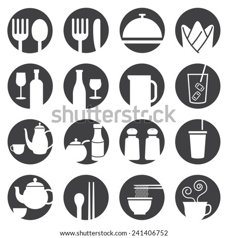 Icons Set : Dinner Restaurant and Eating