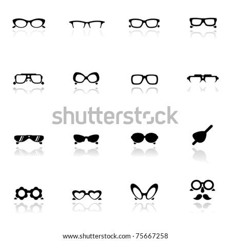 Icons set  Eye glasses - stock vector