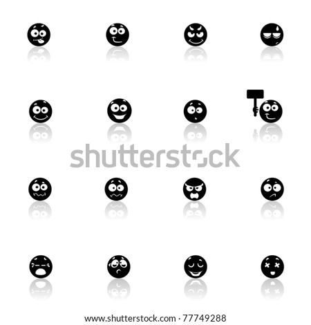 Icons set Faces - stock vector
