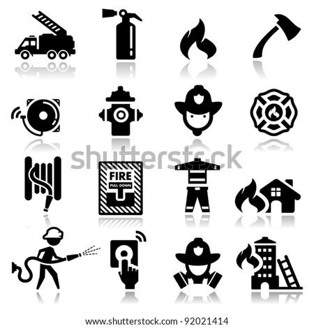 Icons set firefighter - stock vector