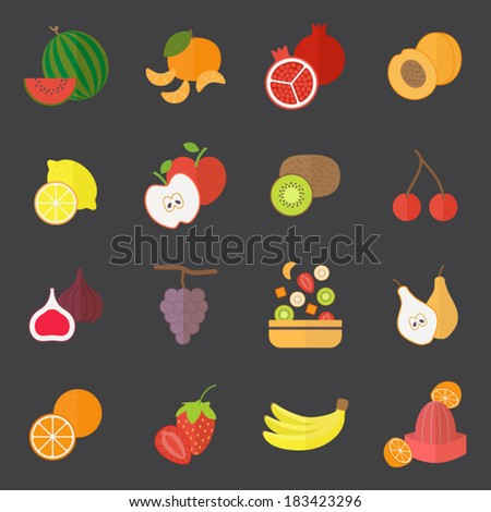 Icons set for cooking, restaurant, menu, fruits and vegetarian food. Flat design vector  - stock vector