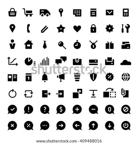 Icons set for web services. Black color.
