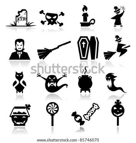 Icons set Halloween - stock vector