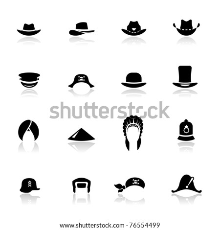 Icons set hats - stock vector