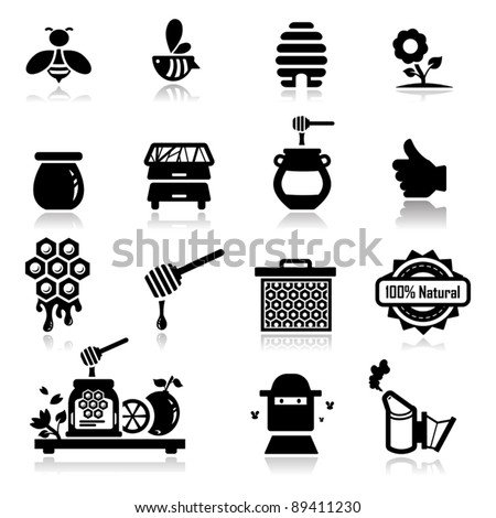 Icons set Honey - stock vector