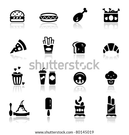 Icons set Junk food - stock vector