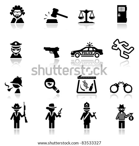 Icons set Justice and law - stock vector