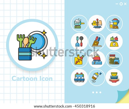 icons set kitchen vector - stock vector