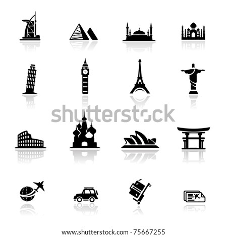 Icons set  landmarks and cultures - stock vector