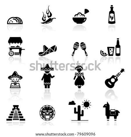 Icons set Mexican culture and cuisine - stock vector