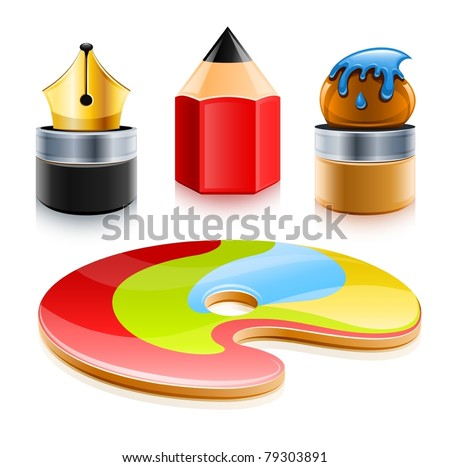 icons set of art tools pen pencil and brush vector illustration isolated on white background - stock vector