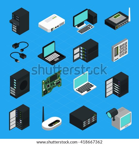 Icons set of different electronic equipment for data center server networking and computers security isometric isolated vector illustration - stock vector