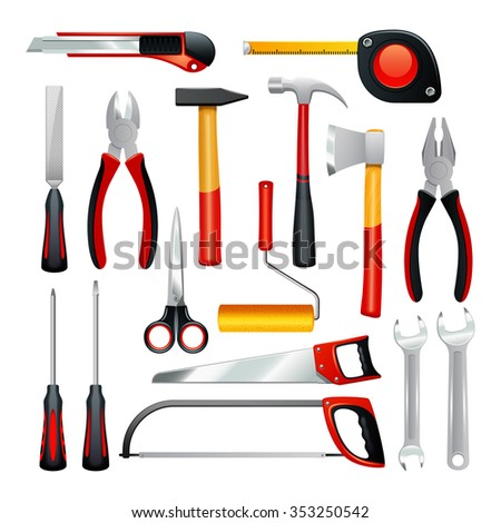 Icons set of different simple tools for housework and non professional repair realistic isolated vector illustration