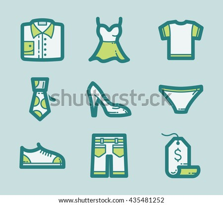Icons set of fashion Clothes