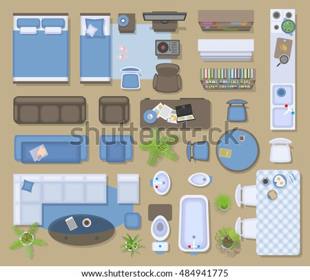 Icons Set Interior Top View Isolated Stock Vector 484941775 Shutterstock