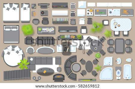 Set linear icons interior top view stock vector 699277864 for Set up living room furniture floor plan