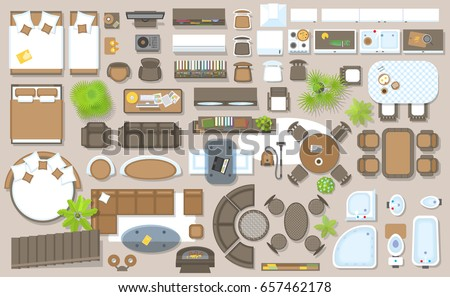 Icons set interior top view isolated 657462178 for Floor plan furniture store