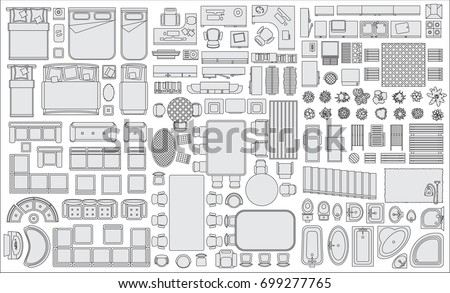 Icons set interior top view isolated 699277765 for Floor plan furniture store