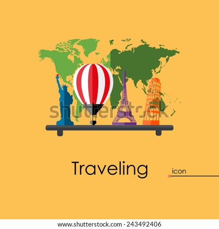 Icons set of traveling flat vector background - stock vector