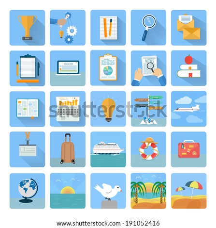 Icons set of traveling, planning a summer vacation, tourism and journey objects and passenger luggage in flat design. Different types of travel. Business travel concept - stock vector